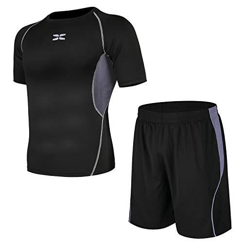 (シーヤ) Seeya コンプレッションウェア セット スポーツウェア メンズ 長袖 半袖 冬 上下 5点セット 6カラー トレーニング ランニング 吸汗 速乾 (XXL, 黒&灰(2点セット))