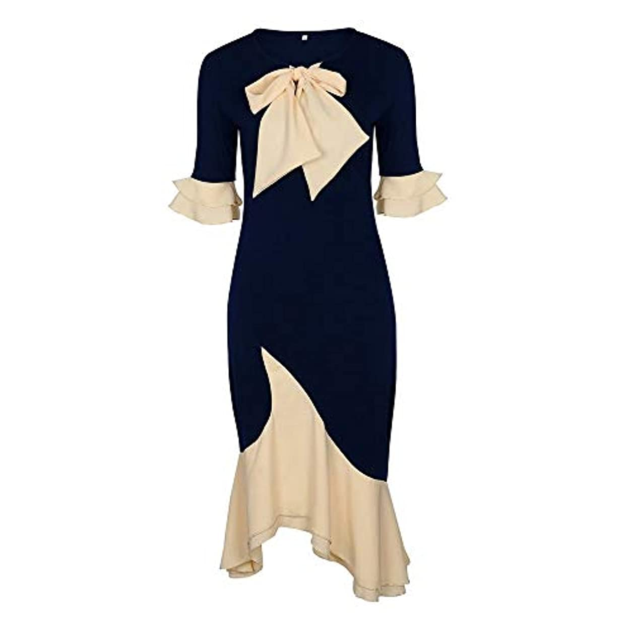 削減旅行者洋服Onderroa - ヴィンテージエレガントなオフィスレディーの女性のドレスマーメイドフレアスリーブボウカラーファルバラの女の子セクシーな女性レトロなパーティードレス