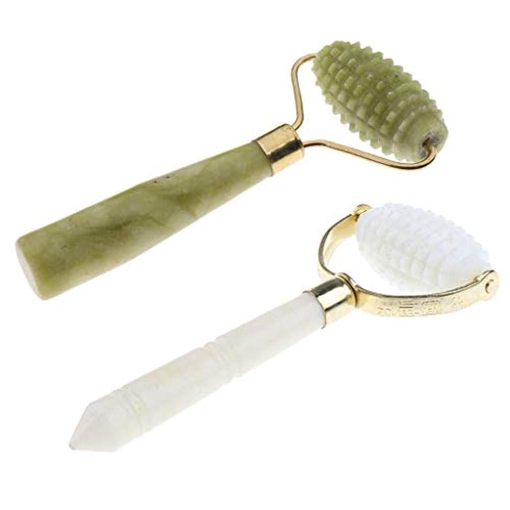 売る比率蒸発する美顔ローラー 天然スートン フェイシャルマッサージ 美容マッサージローラー 美容ツール 2色 2本入