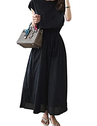 SANCANYI-RIBAN ワンピース ロング レディース ドレス 半袖 ナチュラル 綿麻 ゆったり 無地 ベルト付き 体型カバー 着痩せ おしゃれ 丸首 ワンピース 森ガール 上品 大人 通勤 カジュアル 日常 夏 ブラック M