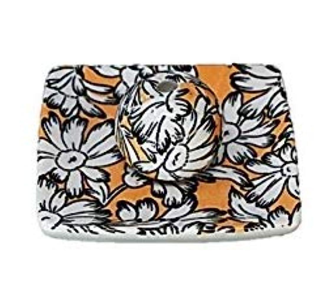 ペインティング繊毛マーガレットオレンジ 小角皿 お香立て 陶器 ACSWEBSHOPオリジナル