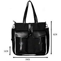 Student Tote Bag, Canvas Shoulder Briefcase Tote Bag Commuting File Vacation Handbag (Black) Polykor