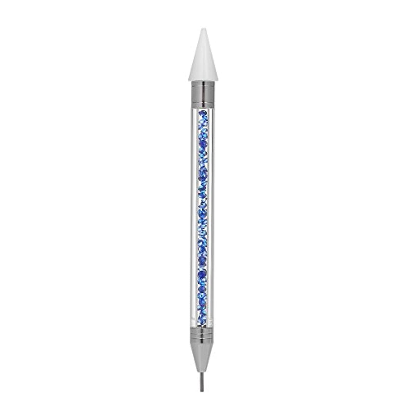 Decdeal ラインストーンドットペン ダブルヘッド ネイルドットツール ダブルエンドチップ ビーズピッカーワックスペン マニキュアツール ブルー 1Pc