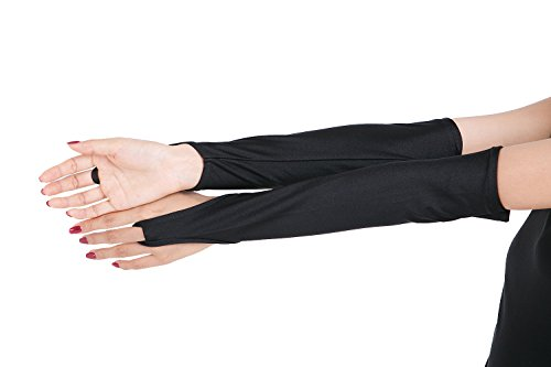 ツルツルニット 指ぬき ロンググローブ 超特大サイズ, 黒