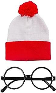 ウォーリー コスプレ ハロウィン サンタ クリスマス 帽子 ニット キャップ コスチューム パーティー 衣装 赤白 紅白 (ニット帽 + メガネ) iinoo