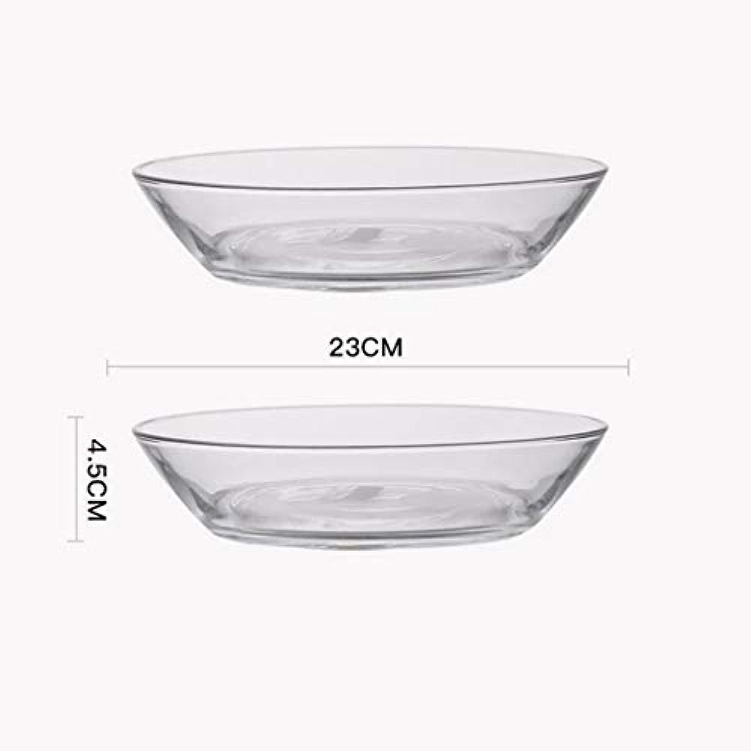 動機セメント補助金丸型ホットプレート 利用可能な強化透明なガラスフルーツサラダプレート食器耐熱クリエイティブディッシュプレートホームオーブンレンジ (Color : Clear, Size : 23*4.5cm)