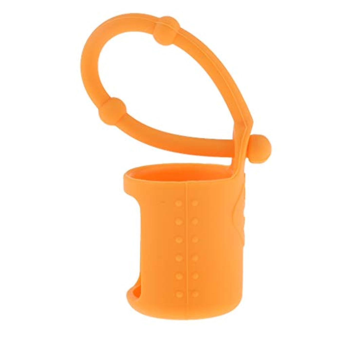 縁ハードシャー6色選べ シリコーン ローラーボトルホルダー エッセンシャルオイル キャリングケース 5ml - オレンジ
