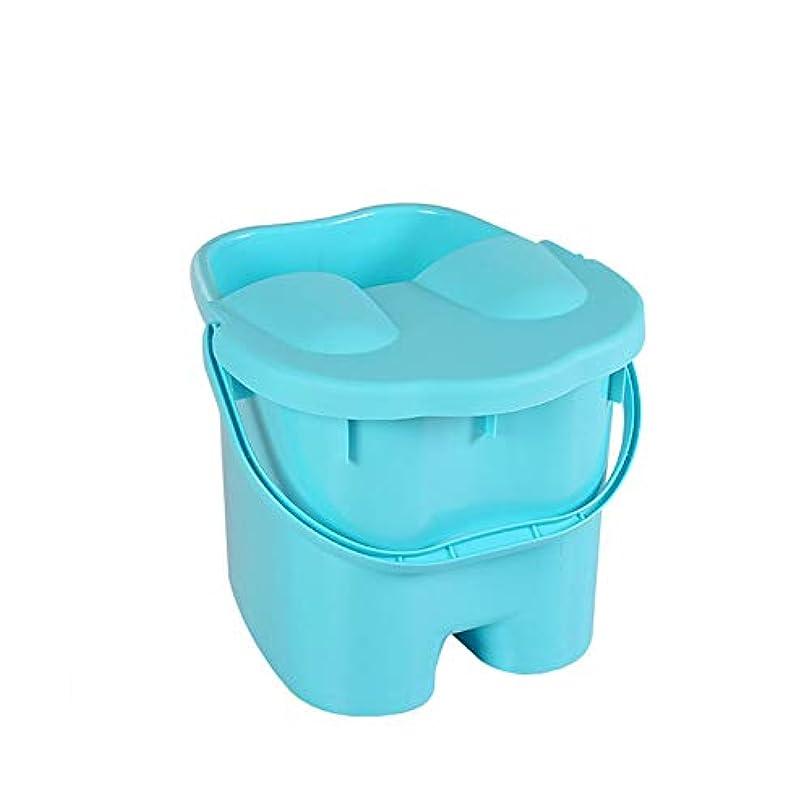 ステップアドバイス一致ポータブル洗足式健康バレルを深化蓋付きの足湯バケツ、プラスチックマッサージ絶縁フットバスバレル、高め肥厚フットバスタブ、-blue-L