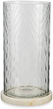 Boho Traders Wire Cut Glass Hurricane Lamp with Marble Base, Clear