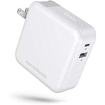 RAVPower モバイルバッテリー 搭載 PD 急速 充電器 5000mAh 【折畳式プラグ/USB-C入出力ポート/QC 3.0対応/Power Delivery対応/菱&丸PSE認証済】 iPhone iPad Android等対応 RP-PB101 (ホワイト)