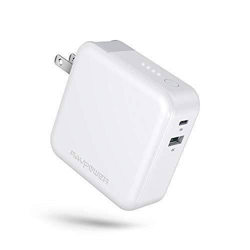 RAVPower モバイルバッテリー 搭載 PD 急速 充電器 5000mAh 折畳式プラグ/USB-C入出力ポート/QC 3.0対応/Power Delivery対応/菱丸PSE認証済 iPhone iPad Android等対応 (ホワイト)