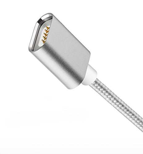【JPUP】 2本 データ転送ケーブル Lightning & Type-C & Micro-USB & USB 3.0ケーブル (1m) 防塵機能 データ通信転送 充電ケーブル ハイクオリティ磁気吸収データライン 強化ナイロンメッシュ編み ミニUSB端子 シングル頭 急速充電 iPhone / Android / Swhitch 対応 LEDチャージライ発光 小型アダプターヘッド付き 磁石 高耐久 断線防止(銀白色 改良 2本)