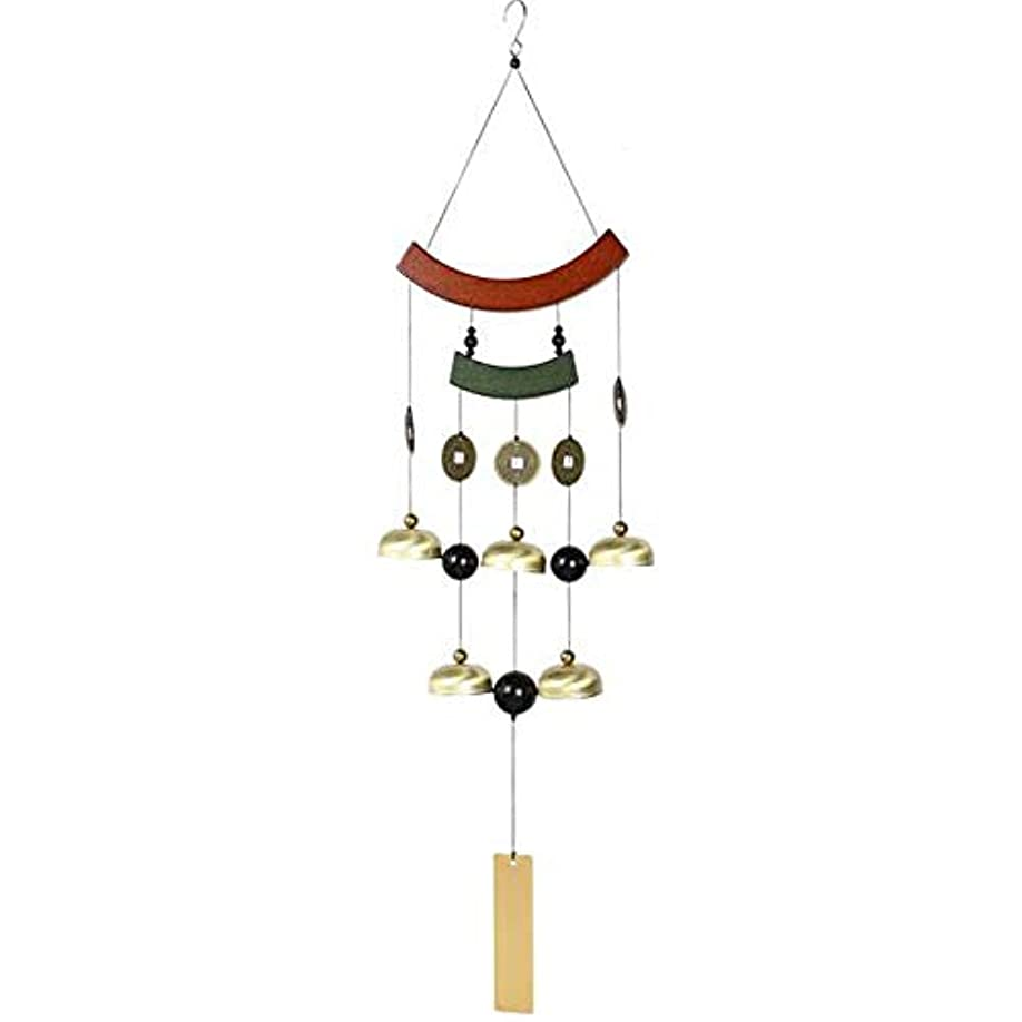 勧告不適切なガラガラHongyuantongxun 風チャイム、ホームレトロなメタル風チャイム、ゴールド、サイズ77CM,、装飾品ペンダント (Color : Gold)