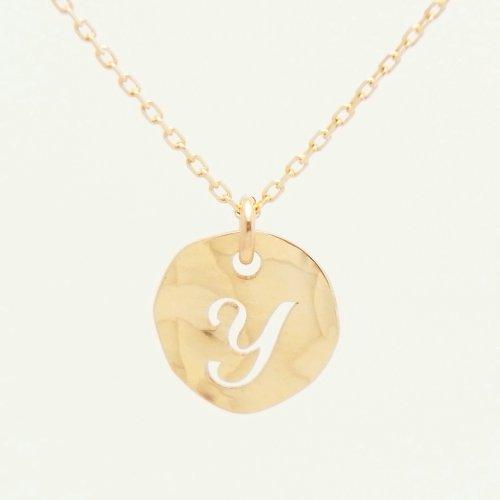 Initial Y 18金製 K18 gold ゴールド (日本製 Made in Japan) (金属アレルギー対応) イニシャル 「Y」 波型 プレート ペンダント ネックレス チェーン ジュエリー (Amazon.co.jp 限定) [HJ] (40 センチメートル)