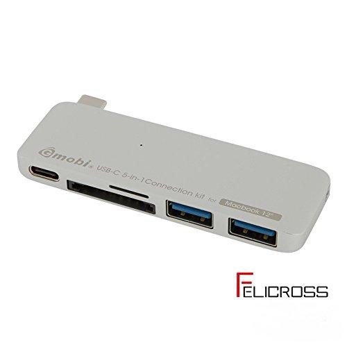 新MacBook用 充電しながら使えるハブ Type-C USB 3.0ハブ 2ポート SDカードリーダー Micro SDカード iMac MacBook Air MacBook Pro MacBook Mac Mini PC GN21B (シルバー)