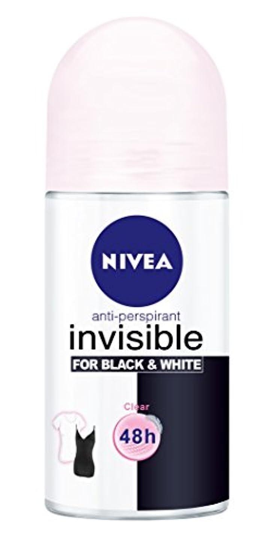 編集者捨てる風味Nivea Invisible Black And White Clear Anti-perspirant Deodorant Roll On for Women 50ml - ニベアインビジブル黒そして白制汗剤デオドラントロールオン...