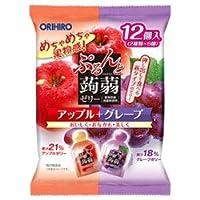 オリヒロ ぷるんと蒟蒻ゼリー アップル+グレープ 20g×12個×12袋入×(2ケース)