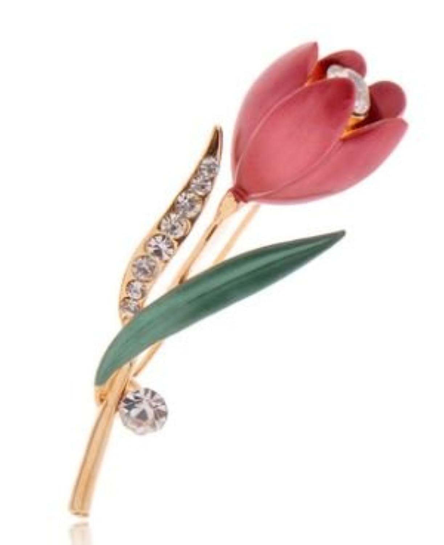 【ノーブランド品】 なめらかな 曲線が 美しい ダイヤ風 装飾付き チューリップ ブローチ (ローズ)