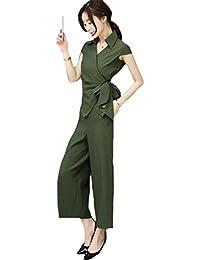 MengFan レディース 二点セット 夏 洋服 職業 セット 無地 韓国 Vネック 二点セット 九分丈 女 足ズボン 半袖