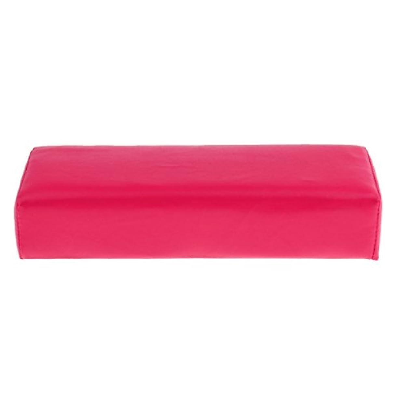 柔らかいスポンジネイルアートハンドレストクッションホルダー - 手/腕/手首の枕マニキュアアクセサリーツール - ローズレッド