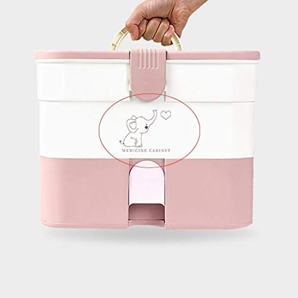 苦味喜んで有能な薬箱家庭用大容量薬収納ボックス多層ポータブルハンドルデザイン SYFO (Color : Pink, Size : A)