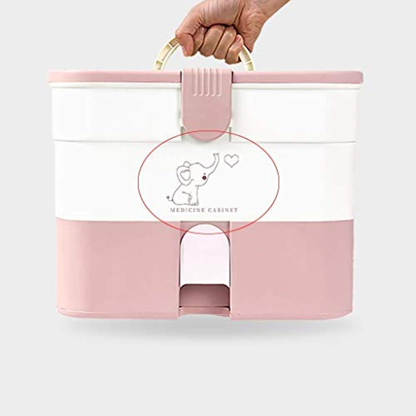 インペリアル先行するしみ薬箱家庭用大容量薬収納ボックス多層ポータブルハンドルデザイン SYFO (Color : Pink, Size : A)