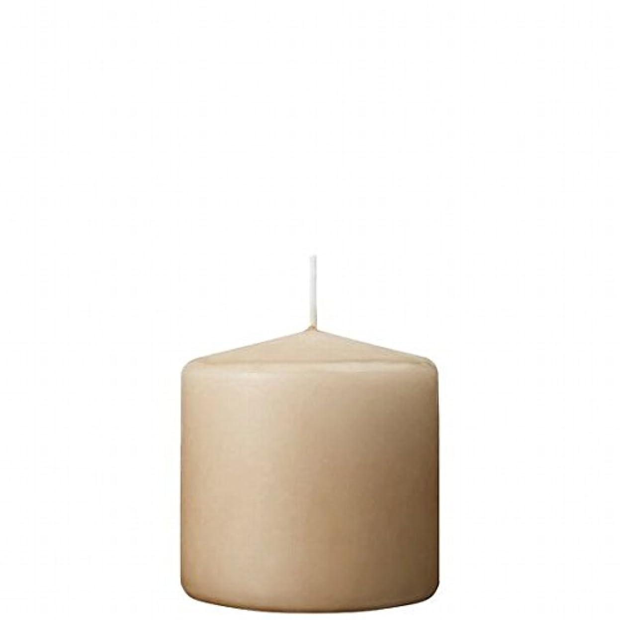 信頼ほのめかす服を洗うカメヤマキャンドル( kameyama candle ) 3×3ベルトップピラーキャンドル 「 ベージュ 」