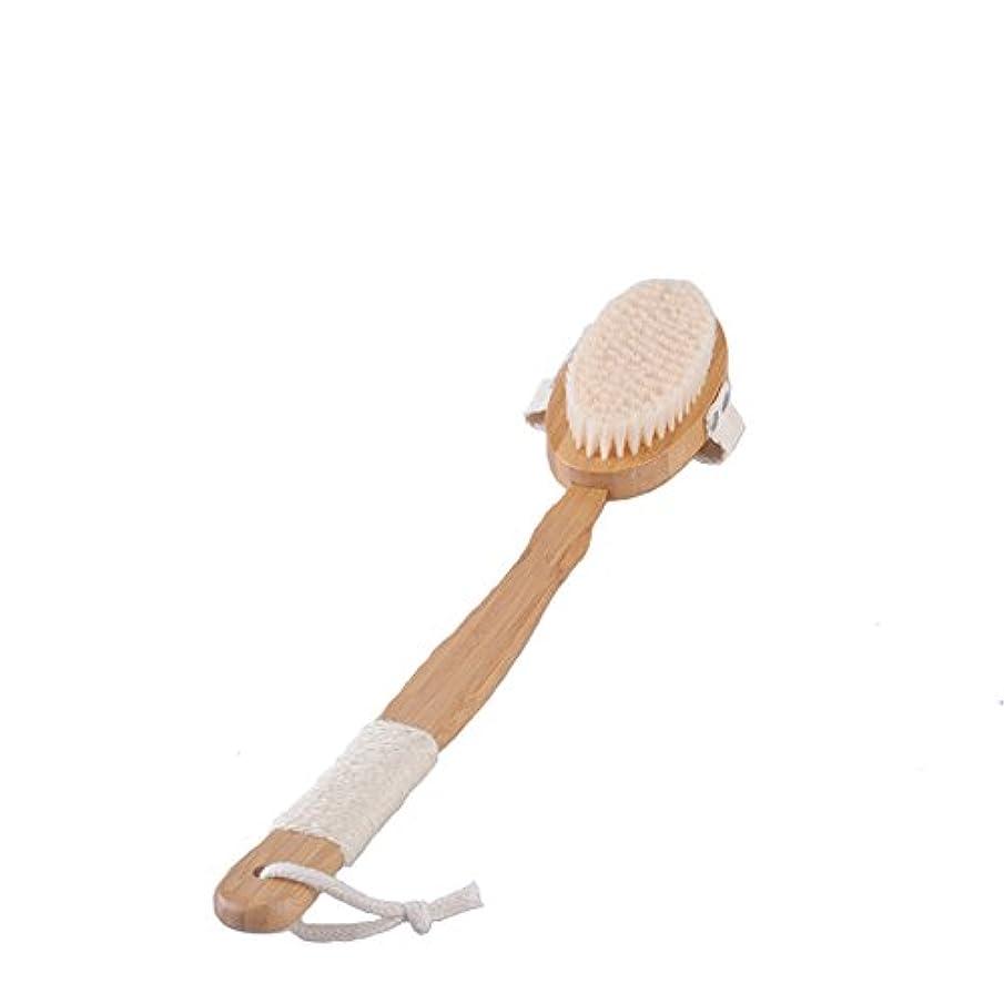 学習者履歴書ステンレスAisxle ボディブラシ 馬毛 お風呂用 軽量 美肌 木製長柄 バス用品 ボディ ロングタイプ