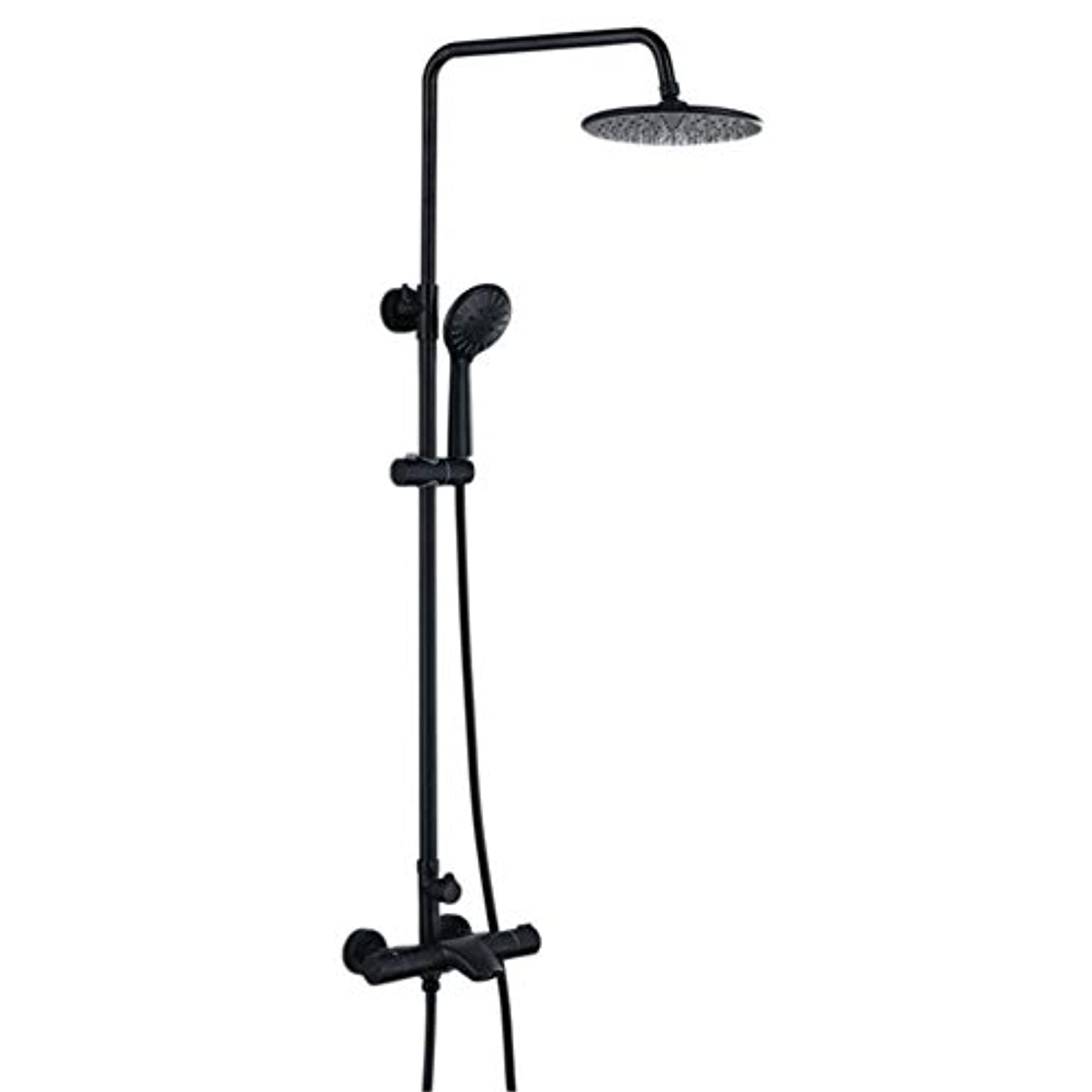 ラメ描写合併サーモスタットシャワーシステム、浴室シャワーミキサーセット壁掛け雨浴室シャワーセット蛇口黒ブロンズデュアルハンドルシャワーホットシャワーとコールドタップシャワー付き