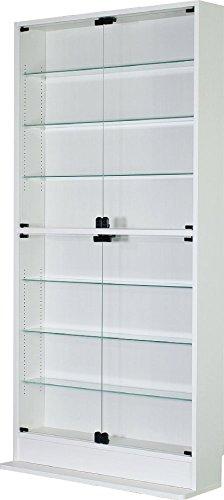 ハイタイプ ガラス開き戸 コレクションケース幅90cm奥行き19cm高さ180cm(ホワイト)