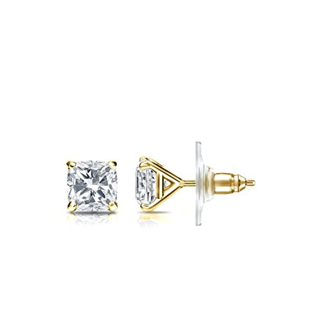 無力の慈悲でジェームズダイソン14 Kゴールド4プロングMartiniクッションダイヤモンドメンズスタッドイヤリング( 1 / 2 – 2 ct、ホワイト、si2安全ロックバックディスク