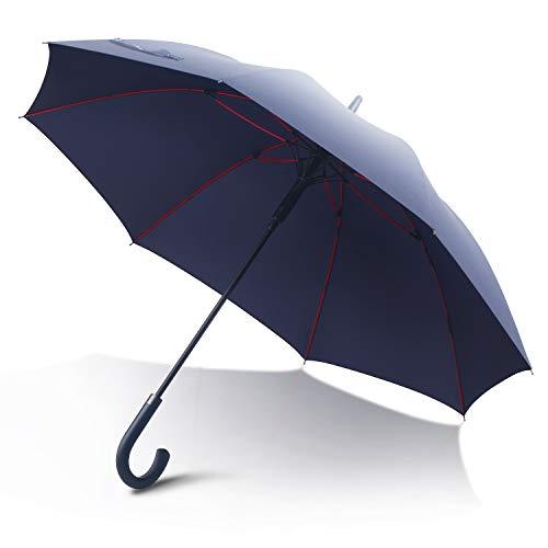 Anntrue 傘 メンズ レディース 長傘 ワンタッチ式ジャンプ傘 丈夫 耐風 Teflon加工 グラスファイバー 軽量 大型 梅雨対策 晴雨兼用 130cm 永久保証付き 収納ポーチ付き