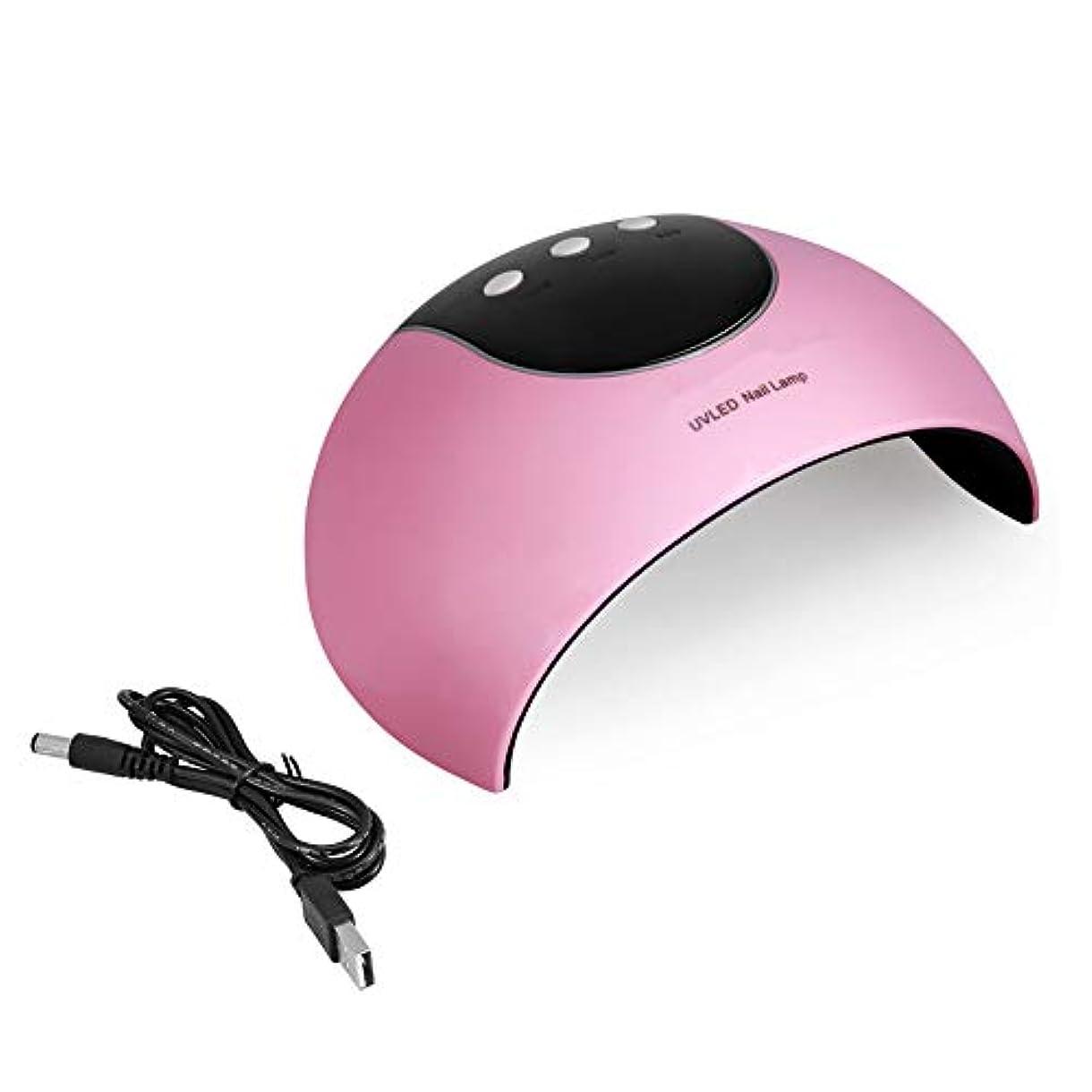 解放するジム吸収剤UVネイルランプ - 24W LEDネイルマニキュアランプネイルポリッシュドライヤーオートセンサーマシンネイルアートドライヤーピンク (色 : ピンク)