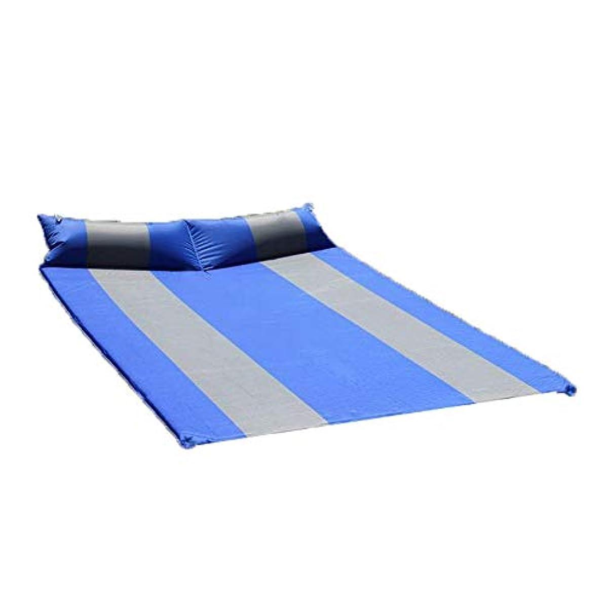専門化するラウズ選挙付属の枕付き防水軽量2人用インフレータブル屋外エアマットレスコンパクト厚いフォームダブル自己膨張キャンプスリーピングパッド (色 : 青, サイズ : 74.8*51.9*1.38inches)