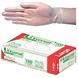 Universal Vinyl Examination Gloves 5.5, Powder Free, Large, Clear, 100 per Box