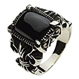 【セノーテ】 cenote r5024 25号 【ホワイトメタルアクセサリー リング・指輪】 オニキス 百合の紋章 リリー フラダリ メンズ