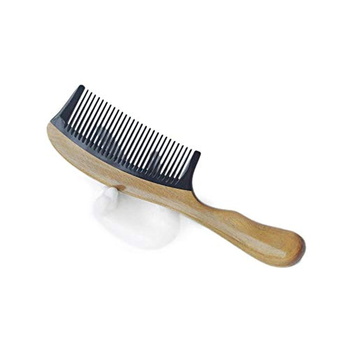 平均リングレット切り離すFashianサンダルウッドくし手作りの木製くし静電防止(ショートハンドル - ワイド歯) ヘアケア