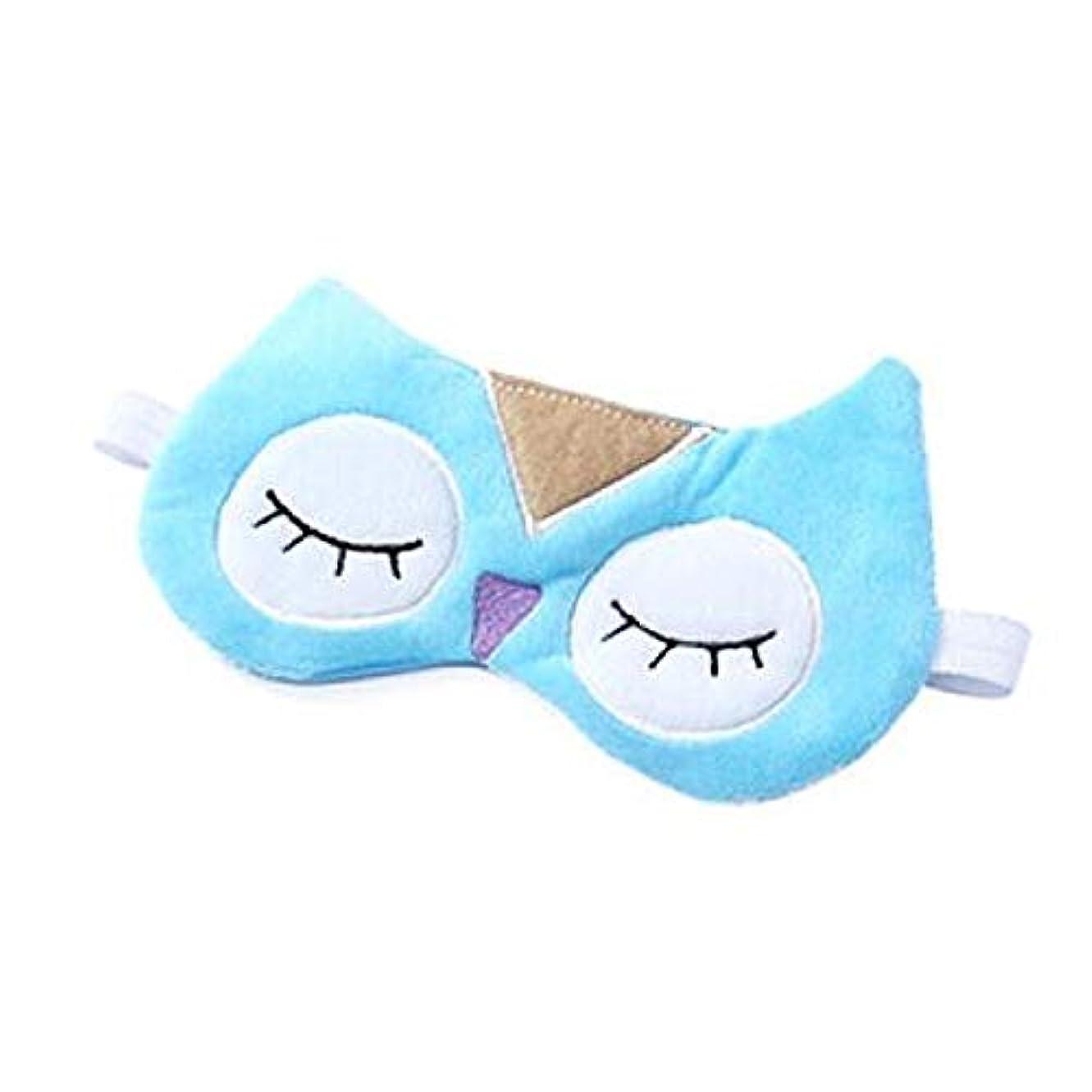 朝の体操をするトロイの木馬カップHUICHEN かわいいアイスバッグ睡眠ゴーグルゴーグルの男性と女性の青いフクロウ冷湿布ゴーグルを寝 (Color : Blue)