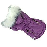FidgetGear 犬ペット秋冬服犬のコートパーカー厚く冬のダウンジャケット 紫の