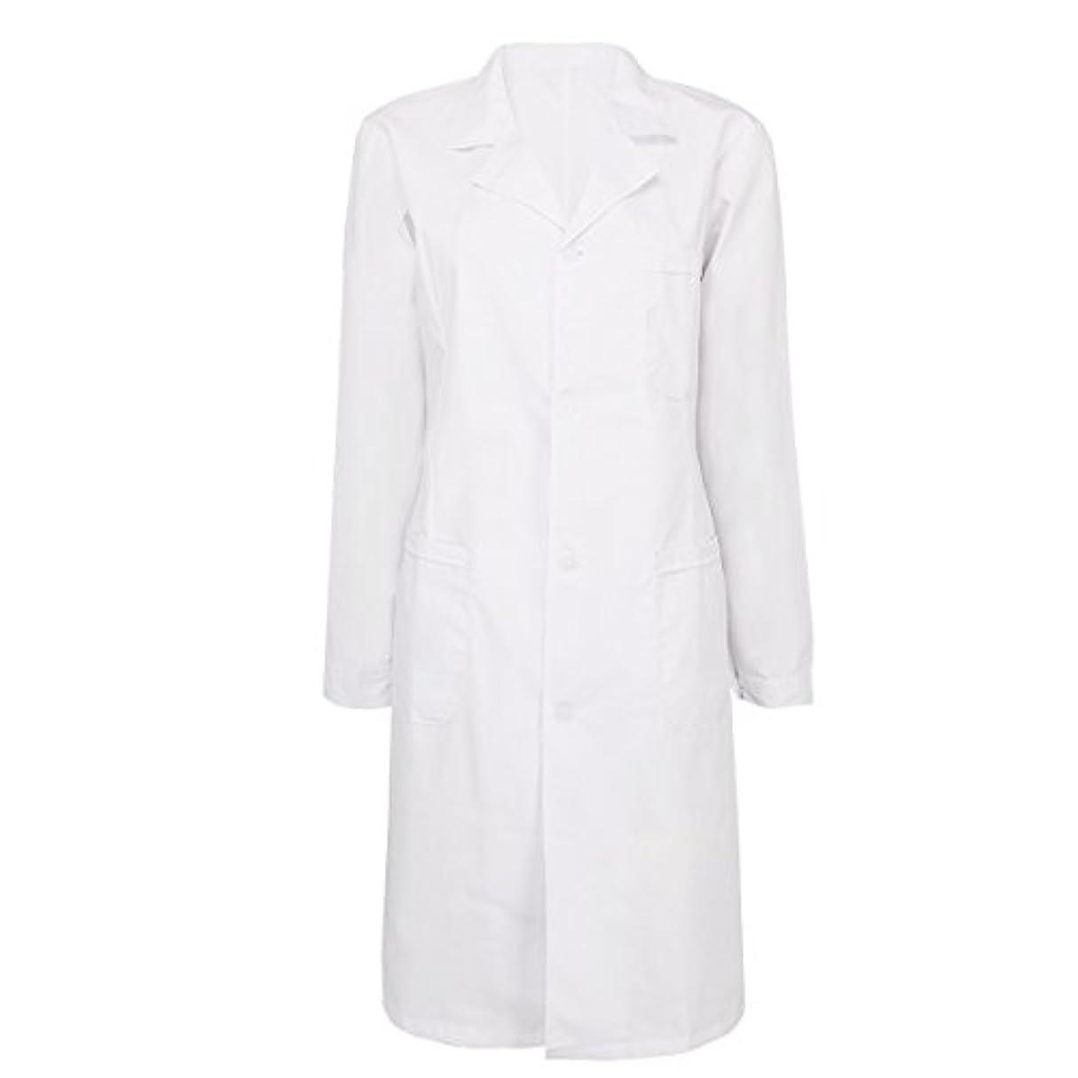 クラフト一過性不要(フィーショー)FEESHOW レディース用 メンズ用 白衣 ドクター 医師診察衣 長袖 シングルボタン ロング丈 ホワイト 両脇ポケット付き