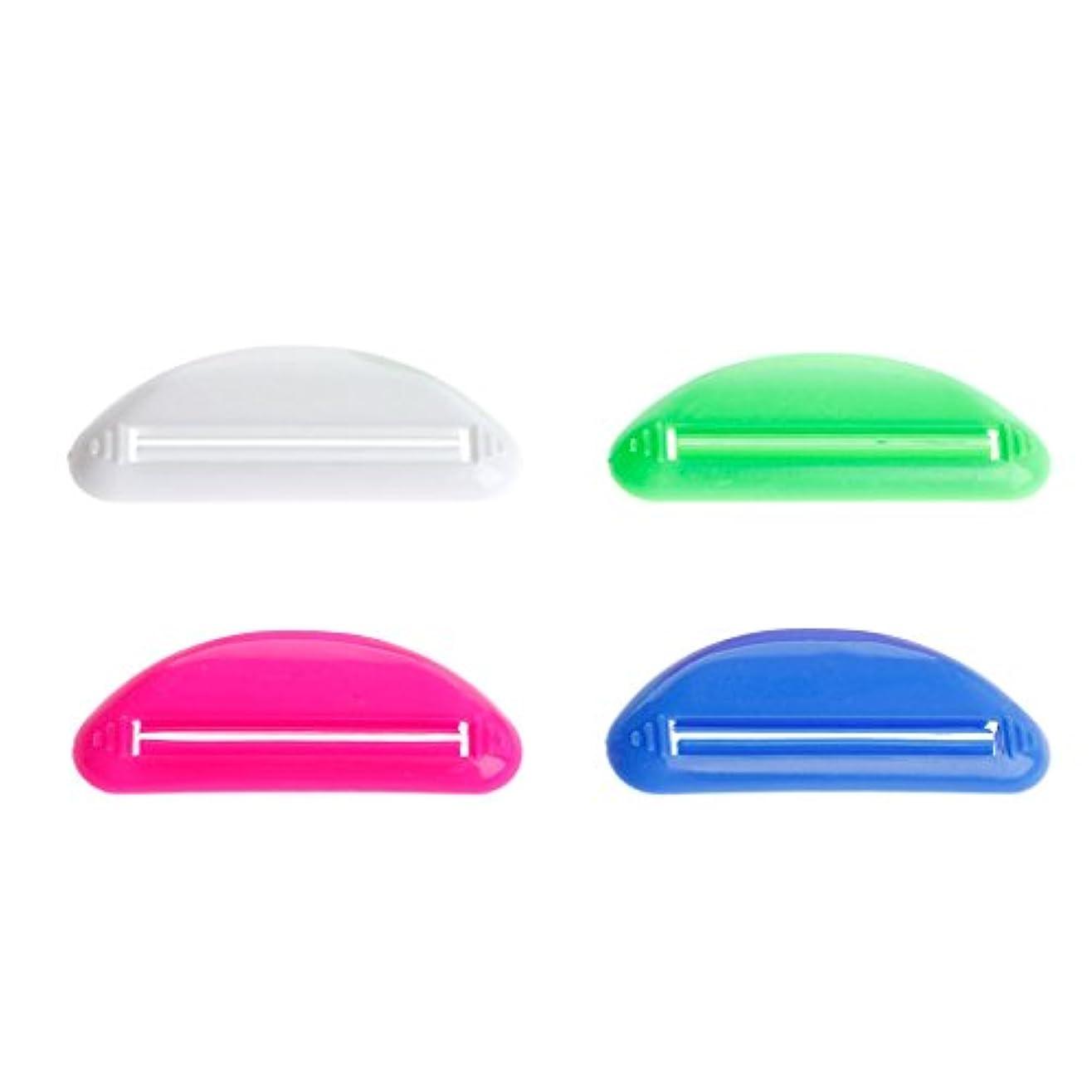 のヒープ初期のしょっぱいLamdooプラスチックチューブスクイーザー歯磨き粉ディスペンサーホルダーローリング浴室ツールポータブルランダム配信