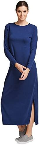 Solbari UPF 50+ Women's Sun Protection Long Sleeve Maxi Dress Sensitive Collection - UV Protection, Sun Pr
