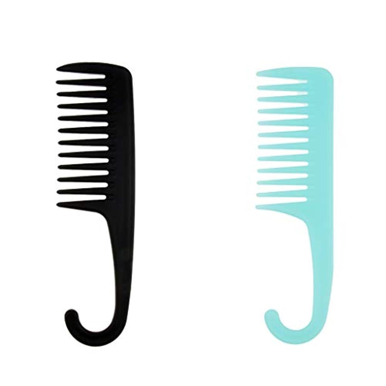 F Fityle 2個 ヘアブラシ シャワー 掛け櫛 櫛 湿潤乾燥髪 フック サロン 家庭用 コーム