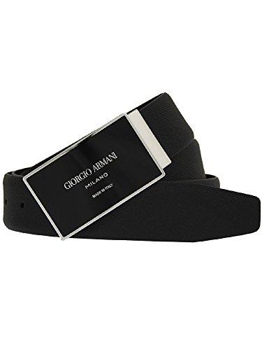 (ジョルジオアルマーニ) GIORGIO ARMANI メンズ ベルト ブラック PLATE BELT Y2S122 YL79J 88001 BLACK [並行輸入品]