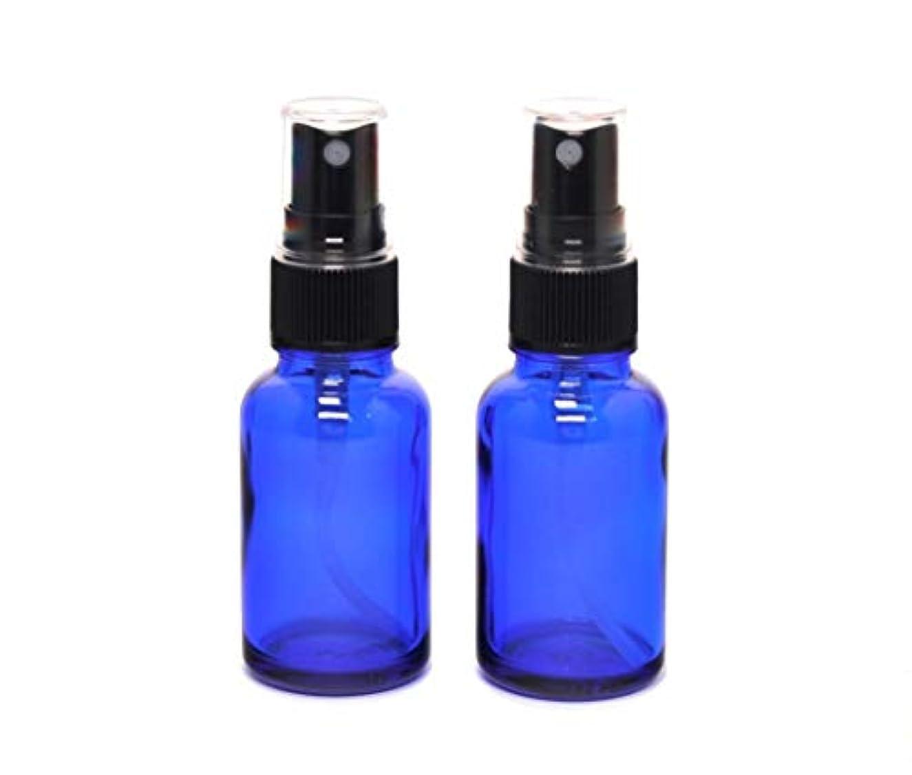 優れましたお祝い定義する遮光瓶 蓄圧式ミストのスプレーボトル 30ml コバルトブルー / ( 硝子製?アトマイザー )ブラックヘッド × 2本セット / アロマスプレー用