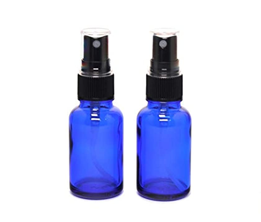 キャンベラ肘神遮光瓶 蓄圧式ミストのスプレーボトル 30ml コバルトブルー / ( 硝子製?アトマイザー )ブラックヘッド × 2本セット / アロマスプレー用