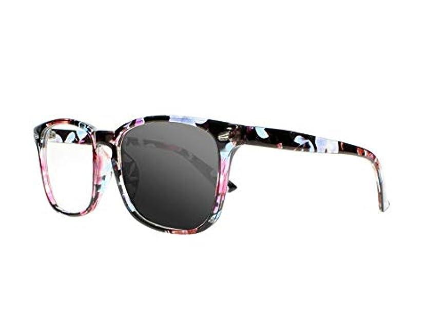 FidgetGear ビンテージトランジションフォトクロミックスクエアサン老眼鏡オタクオタクサングラス 花