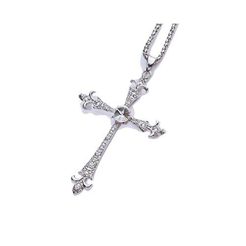 """[해외][比翼堂] 남성 목걸이 """"다이아몬드에 빛나는 큰 십자가""""사지 칼 스테인레스 플래티넘 도금 CZ 큐빅 최고급 케이스/[Toppado] Men`s necklace """"Large cross on shining diamond"""" Surgical stainless steel platinum plated CZ cu..."""