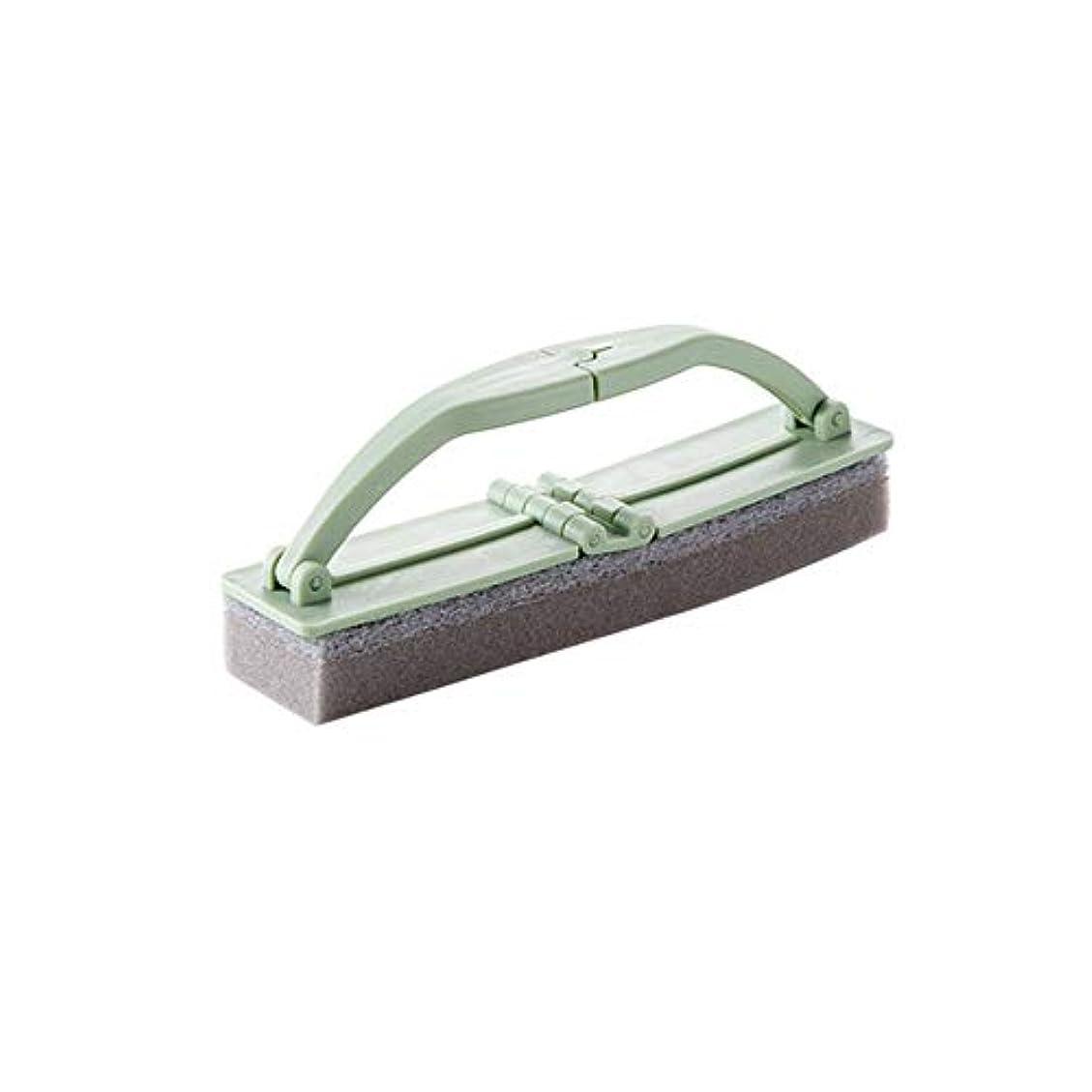 なめる寛容負ポアクリーニング 折りたたみ式の浴室スポンジハンドル付き強力な汚染除去タイルクリーニングスポンジブラシ2 PCS マッサージブラシ (色 : 緑)