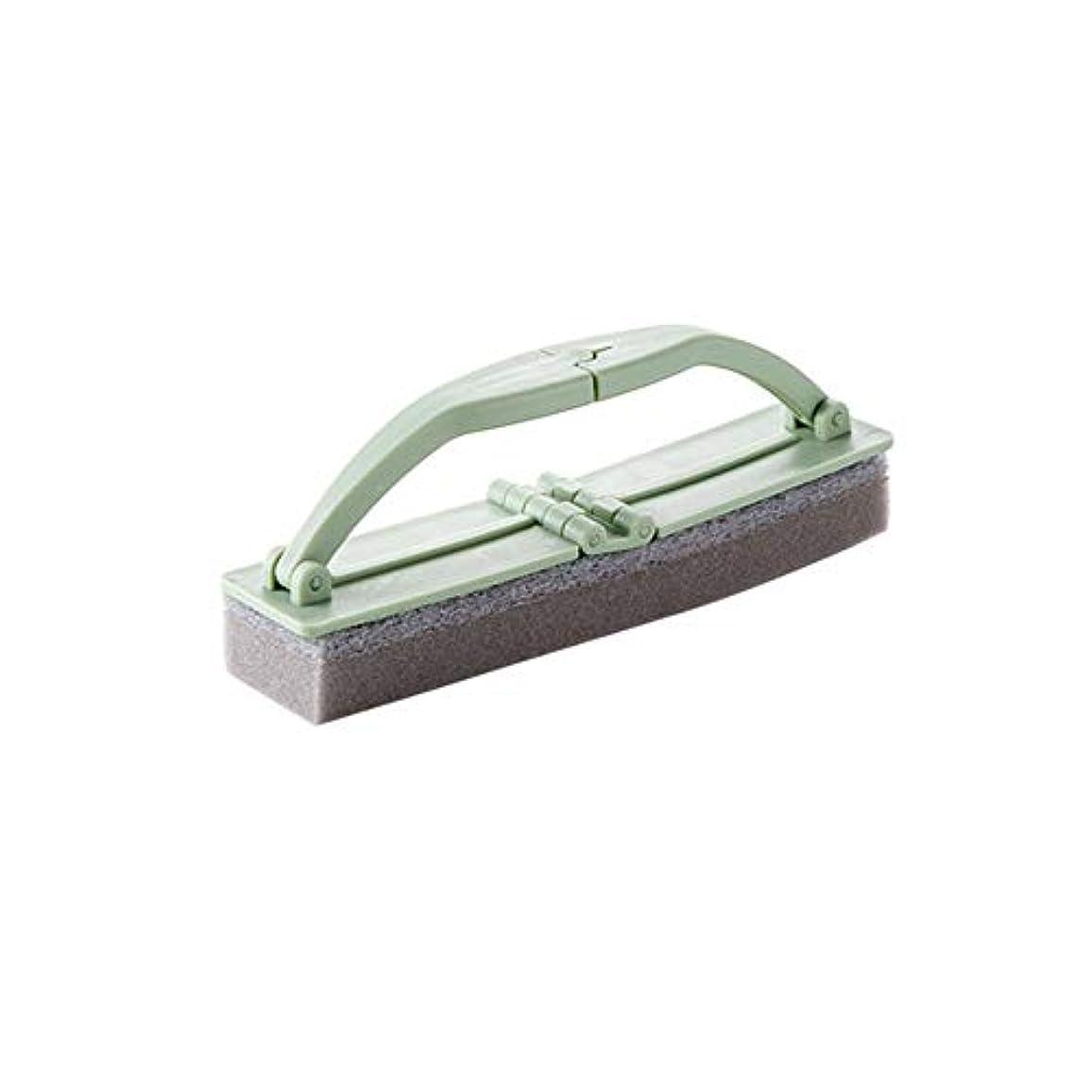 繁雑ひねくれた国際ポアクリーニング 折りたたみ式の浴室スポンジハンドル付き強力な汚染除去タイルクリーニングスポンジブラシ2 PCS マッサージブラシ (色 : 緑)